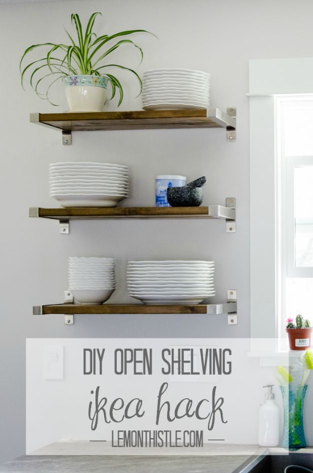 IKEA Hacks for Your Kitchen - DIY Open Shelving IKEA Hack - DIY Furniture and Kitchen Accessories Made from IKEA - Kitchen Islands, Cabinets, Table, Pantry Organization, Storage, Shelves and Counter Solutions - Bar, Buffet and Entertaining Ideas - Easy Projects With Step by Step Tutorials and Instructions to Hack IKEA items http://diyjoy.com/ikea-hacks-kitchen #ikeahacks #diyhomedecor #diyideas #diykitchen