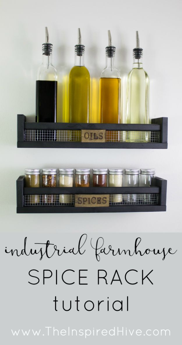 IKEA Hacks for Your Kitchen - DIY Rustic Wall Mounted Spice Rack - DIY Furniture and Kitchen Accessories Made from IKEA - Kitchen Islands, Cabinets, Table, Pantry Organization, Storage, Shelves and Counter Solutions - Bar, Buffet and Entertaining Ideas - Easy Projects With Step by Step Tutorials and Instructions to Hack IKEA items http://diyjoy.com/ikea-hacks-kitchen #ikeahacks #diyhomedecor #diyideas #diykitchen