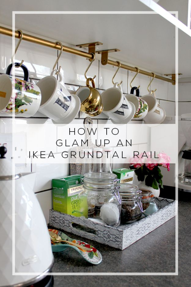 IKEA Hacks for Your Kitchen - Glam Up AN IKEA Grundtal Rail - DIY Furniture and Kitchen Accessories Made from IKEA - Kitchen Islands, Cabinets, Table, Pantry Organization, Storage, Shelves and Counter Solutions - Bar, Buffet and Entertaining Ideas - Easy Projects With Step by Step Tutorials and Instructions to Hack IKEA items http://diyjoy.com/ikea-hacks-kitchen #ikeahacks #diyhomedecor #diyideas #diykitchen