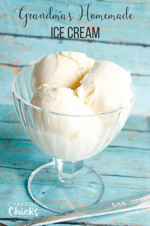 Homemade Ice Cream Recipes - Grandma's Homemade Vanilla Ice Cream - How To Make Homemade Ice Cream At Home - Recipe Ideas for Making Vanilla, Chocolate, Strawberry, Caramel Ice Creams - Step by Step Tutorials for Easy Mixes and Dairy Free Options - Cuisinart and Ice Cream Machine, No Churn, Mix in A Bag and Mason Jar - Healthy and Keto Diet Friendly http://diyjoy.com/homemade-ice-cream-recipes