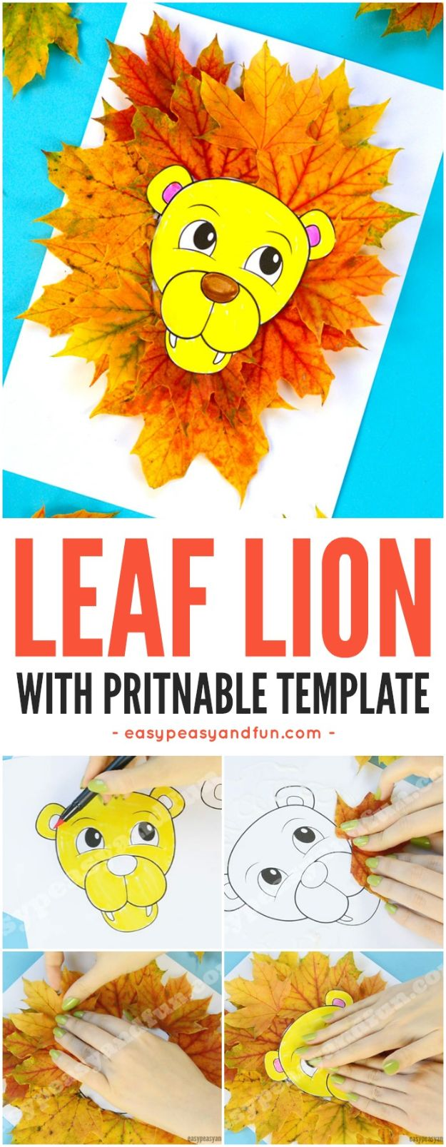 Fun Fall Crafts for Kids - Lion Leaf Craft - Cool Crafts Ideas for Kids to Make With Paper, Glue, Leaves, Corn Husk, Pumpkin and Glitter - Halloween and Thanksgiving - Children Love Making Art, Paintings, Cards and Fall Decor - Placemats, Place Cards, Wall Art , Party Food and Decorations for Toddlers, Boys and Girls #fallcrafts #kidscrafts #kids