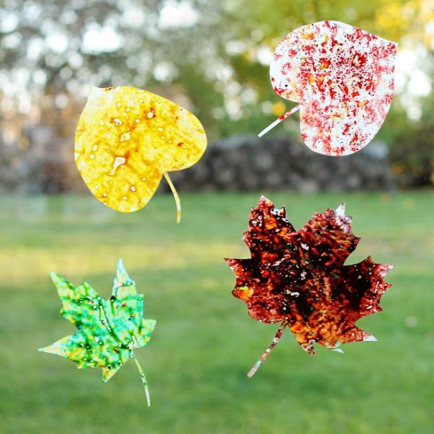 Fun Fall Crafts for Kids - Melted Crayon Leaf Suncatchers - Cool Crafts Ideas for Kids to Make With Paper, Glue, Leaves, Corn Husk, Pumpkin and Glitter - Halloween and Thanksgiving - Children Love Making Art, Paintings, Cards and Fall Decor - Placemats, Place Cards, Wall Art , Party Food and Decorations for Toddlers, Boys and Girls #fallcrafts #kidscrafts #kids