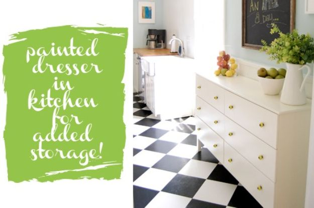 IKEA Hacks for Your Kitchen - Painted Dresser In Kitchen For Added Storage - DIY Furniture and Kitchen Accessories Made from IKEA - Kitchen Islands, Cabinets, Table, Pantry Organization, Storage, Shelves and Counter Solutions - Bar, Buffet and Entertaining Ideas - Easy Projects With Step by Step Tutorials and Instructions to Hack IKEA items http://diyjoy.com/ikea-hacks-kitchen #ikeahacks #diyhomedecor #diyideas #diykitchen
