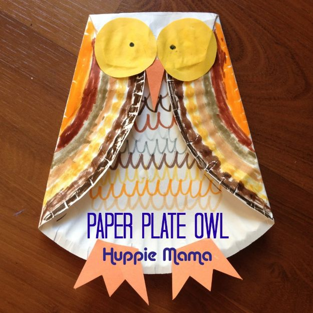 Fun Fall Crafts for Kids - Paper Plate Owl - Cool Crafts Ideas for Kids to Make With Paper, Glue, Leaves, Corn Husk, Pumpkin and Glitter - Halloween and Thanksgiving - Children Love Making Art, Paintings, Cards and Fall Decor - Placemats, Place Cards, Wall Art , Party Food and Decorations for Toddlers, Boys and Girls #fallcrafts #kidscrafts #kids