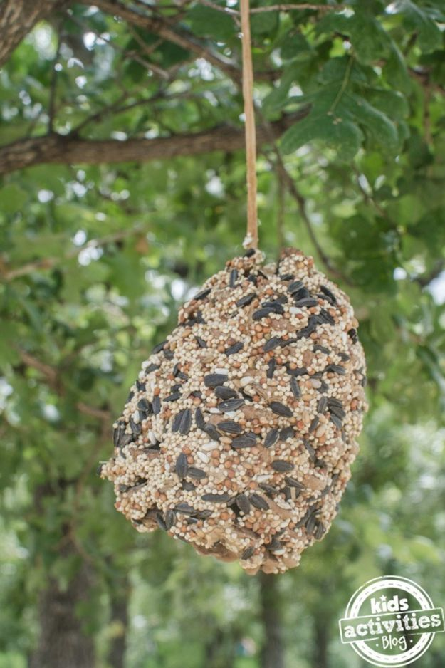 Fun Fall Crafts for Kids - Pine Cone Bird Feeder - Cool Crafts Ideas for Kids to Make With Paper, Glue, Leaves, Corn Husk, Pumpkin and Glitter - Halloween and Thanksgiving - Children Love Making Art, Paintings, Cards and Fall Decor - Placemats, Place Cards, Wall Art , Party Food and Decorations for Toddlers, Boys and Girls #fallcrafts #kidscrafts #kids