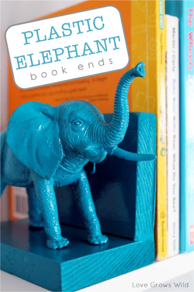 Dollar Tree Crafts - Plastic Elephant Book Ends - DIY Ideas and Crafts Projects From Dollar Tree Stores - Easy Organizing Project Tutorials and Home Decorations- Cheap Crafts to Make and Sell - Organization, Summer Parties, Christmas and Wedding Decor on A Budget - Fun Crafts for Kids and Teens from Dollar Store Items #dollarstore #dollartree #dollarstorecrafts #cheapcrafts #crafts #diy #diyideas http://diyjoy.com/dollar-tree-crafts