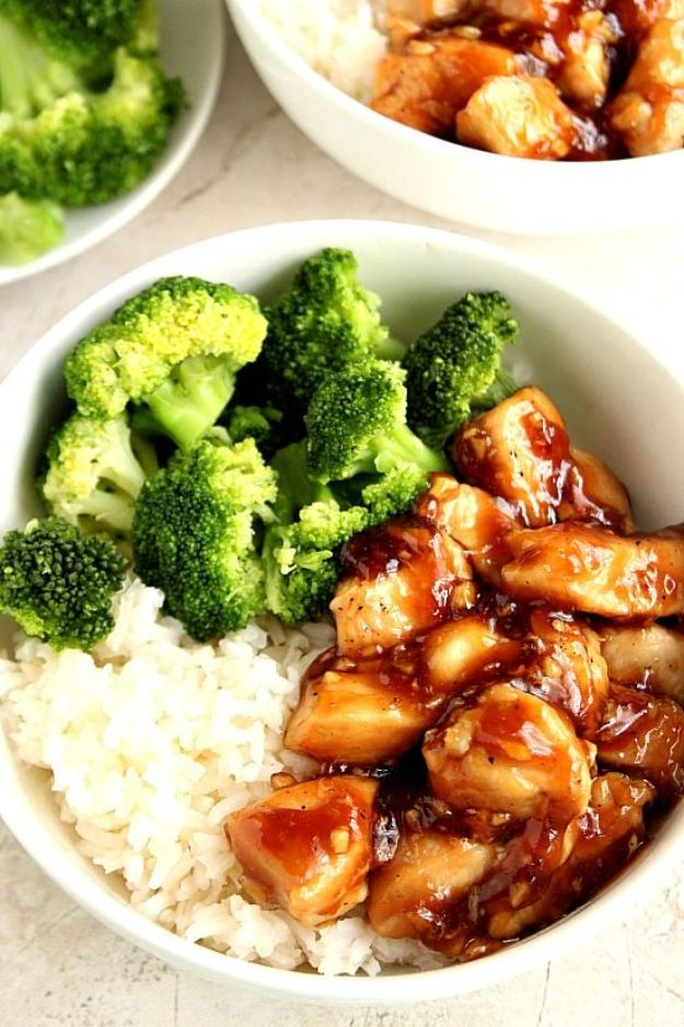 Easy Dinner Recipes - Quick Teriyaki Chicken Rice Bowls - Quick and Simple Dinner Recipe Ideas for Weeknight and Last Minute Supper - Chicken, Ground Beef, Fish, Pasta, Healthy Salads, Low Fat and Vegetarian Dishes - Easy Meals for the Family, for Two, for One and Cook Ahead Crockpoit Dinners - Cheap Casseroles and Budget Friendly Foods to Make at Home http://diyjoy.com/easy-dinner-recipes