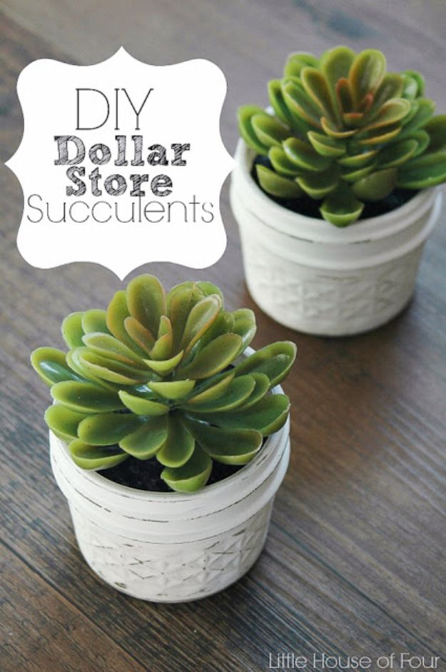 Dollar Tree Crafts - Quick and Easy Dollar Store Succulents - DIY Ideas and Crafts Projects From Dollar Tree Stores - Easy Organizing Project Tutorials and Home Decorations- Cheap Crafts to Make and Sell - Organization, Summer Parties, Christmas and Wedding Decor on A Budget - Fun Crafts for Kids and Teens from Dollar Store Items #dollarstore #dollartree #dollarstorecrafts #cheapcrafts #crafts #diy #diyideas http://diyjoy.com/dollar-tree-crafts