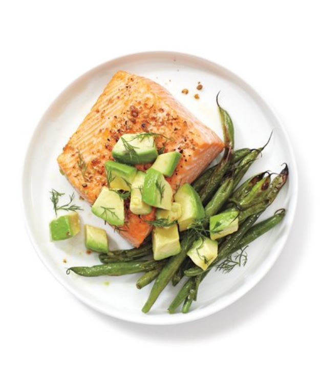 Avocado Recipes - Salmon, Green Beans, and Avocado- Easy Recipe Ideas for Avocados - Quick Avocado Toast, Eggs, Keto Guacamole, Dips, Salads, Healthy Lunches, Breakfast, Dessert and Dinners - Party Foods, Soups, Low Carb Salad Dressings and Smoothie http://diyjoy.com/avocado-recipes