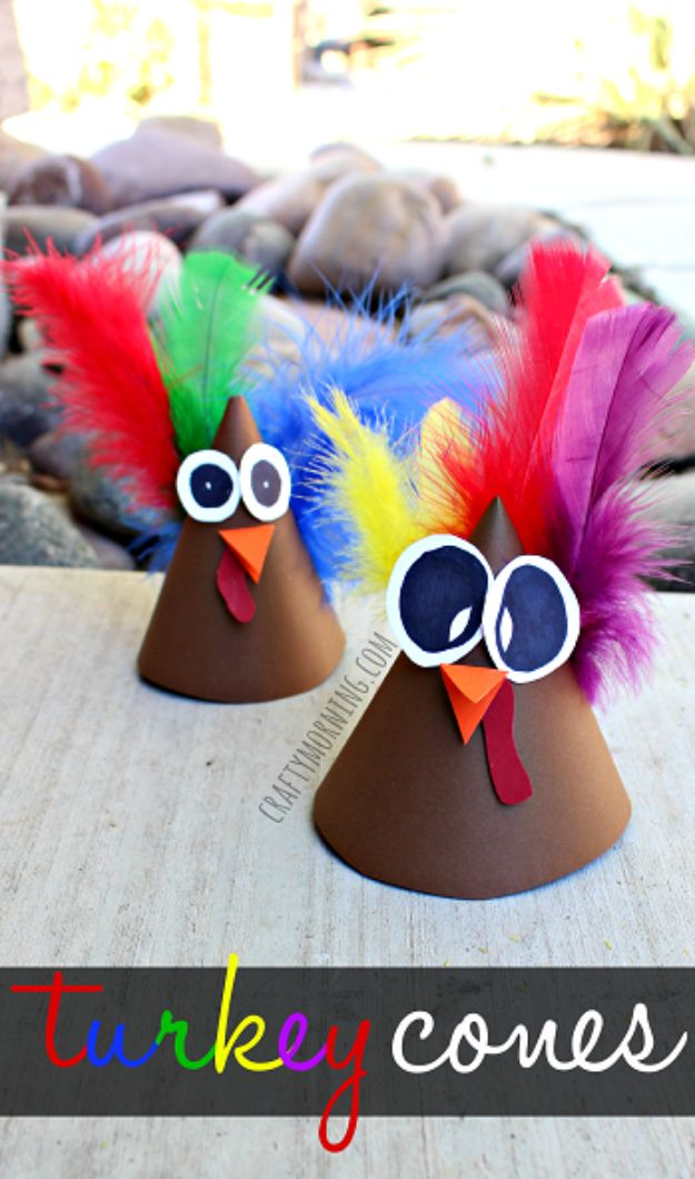 Fun Fall Crafts for Kids - Turkey Cone Craft for Kids - Cool Crafts Ideas for Kids to Make With Paper, Glue, Leaves, Corn Husk, Pumpkin and Glitter - Halloween and Thanksgiving - Children Love Making Art, Paintings, Cards and Fall Decor - Placemats, Place Cards, Wall Art , Party Food and Decorations for Toddlers, Boys and Girls #fallcrafts #kidscrafts #kids