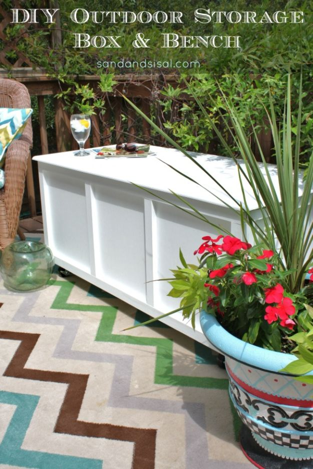 DIY Outdoor Furniture - DIY Outdoor Storage Box and Bench - Cheap and Easy Ideas for Patio and Porch Seating and Tables, Chairs, Sofas - How To Make Outdoor Furniture Projects on A Budget - Fmaily Friendly Decor Kids Love - Quick Projects to Make This Weekend - Swings, Pallet Tables, End Tables, Rocking Chairs, Daybeds and Benches http://diyjoy.com/diy-outdoor-furniture