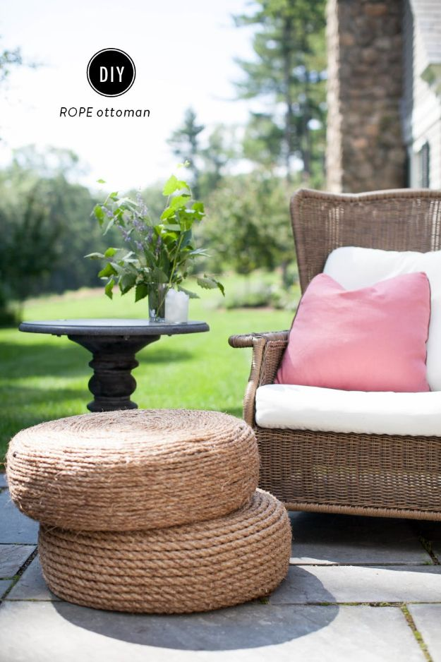 DIY Outdoor Furniture - DIY Rope Ottomans - Cheap and Easy Ideas for Patio and Porch Seating and Tables, Chairs, Sofas - How To Make Outdoor Furniture Projects on A Budget - Fmaily Friendly Decor Kids Love - Quick Projects to Make This Weekend - Swings, Pallet Tables, End Tables, Rocking Chairs, Daybeds and Benches http://diyjoy.com/diy-outdoor-furniture