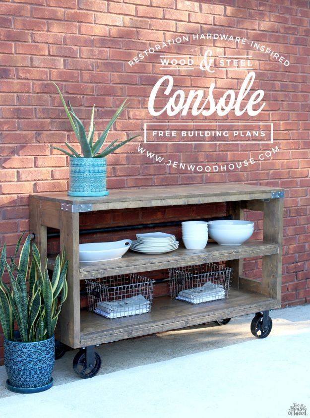 DIY Outdoor Furniture - Industrial Wood and Steel Console - Cheap and Easy Ideas for Patio and Porch Seating and Tables, Chairs, Sofas - How To Make Outdoor Furniture Projects on A Budget - Fmaily Friendly Decor Kids Love - Quick Projects to Make This Weekend - Swings, Pallet Tables, End Tables, Rocking Chairs, Daybeds and Benches http://diyjoy.com/diy-outdoor-furniture