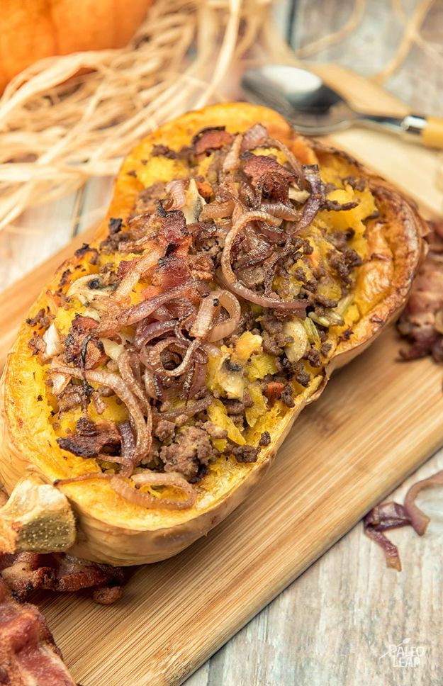 Butternut Squash Recipes -Beef-Stuffed Butternut Squash - Healthy and Hearty Butter Nut Recipe Ideas for Soup, Roasted, Baked, Instant Pot, Crockpot, Mashed- Pasta, Salad, Dessert and Easy Side Dishes - Paleo,and Gluten Free Versions, Thanksgiving Favorites http://diyjoy.com/butternut-squash-recipes