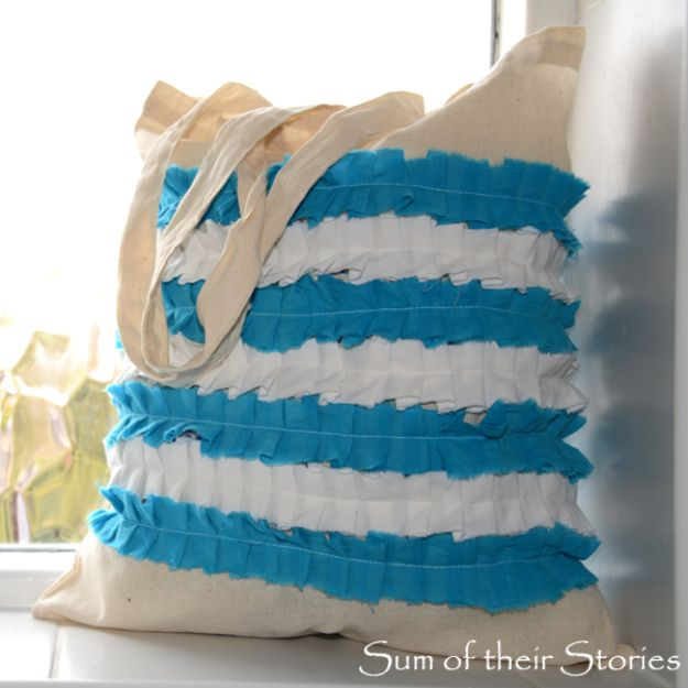 DIY Shopping Bags - Cornishware Ruffled Shopping Bag - Easy Drawstring Bag Tutorials - How To Make A Shopping Bag - Use Fabric Scraps, Old Denim Jeans, Upcycled Items - Cute Monogrammed Ideas, Painted Bags and Sewing Tutorials for Beginners http://diyjoy.com/diy-drawstring-bags