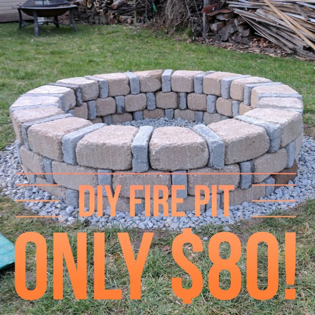 DIY Firepits - DIY Brick Fire Pit For Only $80 - Step by Step Tutorial for Raised Firepit , In Ground, Portable, Brick, Stone, Metal and Cinder Block Outdoor Fireplace - Add Seating to Your Patio and yard With An Inexpensive Firepit http://diyjoy.com/diy-firepits