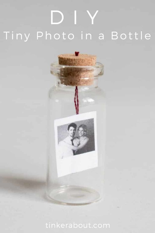 DIY Anniversay Gifts - DIY Tiny Photo In A Bottle - Homemade, Handmade Gift Ideas for Wedding Anniversaries - Cool, Easy and Inexpensvie Gifts To Make for Husband or Wife http://diyjoy.com/diy-anniversary-gifts
