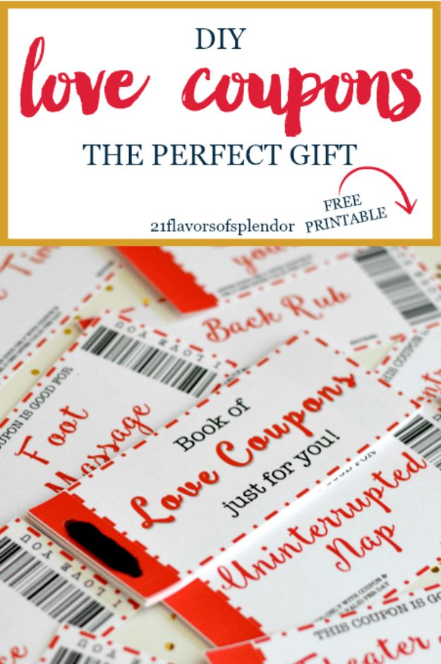 DIY Anniversary Gifts - Free Printable Love Coupons The Perfect Gift - Homemade, Handmade Gift Ideas for Wedding Anniversaries - Cool, Easy and Inexpensvie Gifts To Make for Husband or Wife http://diyjoy.com/diy-anniversary-gifts