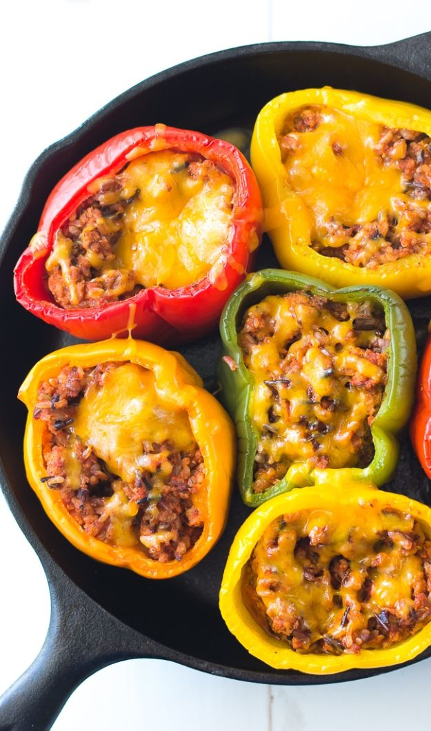 Ground Turkey Recipes - Ground Turkey Stuffed Peppers - Healthy and Easy Turkey Recipe Ideas for Dinner, Lunch, Snack - Quick Crockpot and Instant Pot, Casserole, Meatballs, Pasta and Burgers - Keto Friendly and Low Carb, Paleo, Gluten Free http://diyjoy.com/ground-turkey-recipes