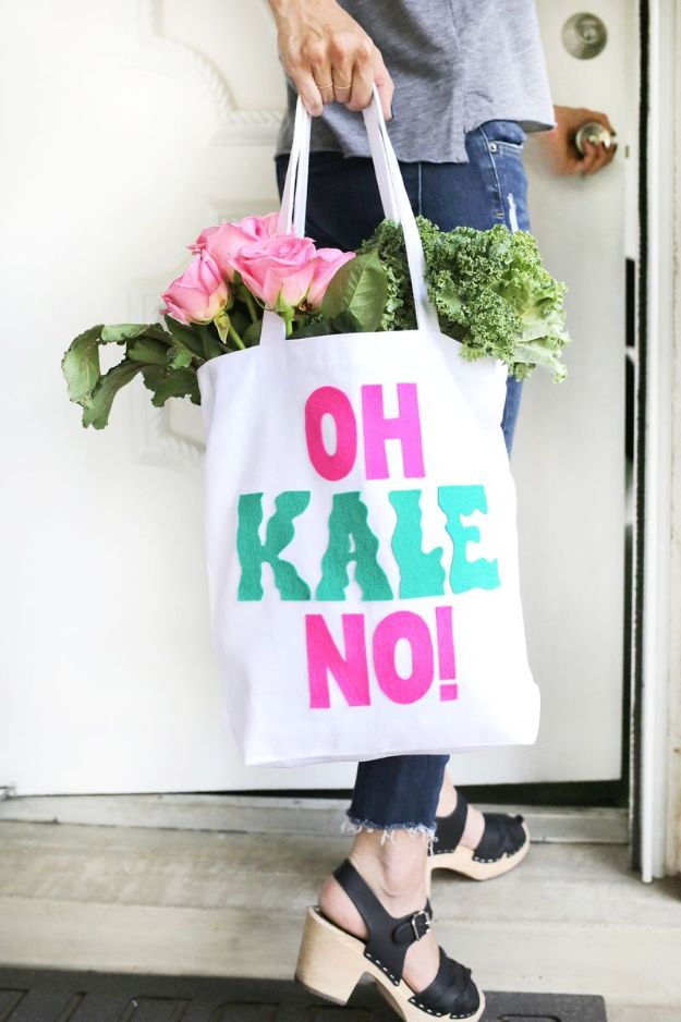DIY Shopping Bags - Oh Kale No Shopping Bag - Drawstring Bag Tutorials - How To Make A Shopping Bag - Use Fabric Scraps, Old Denim Jeans, Upcycled Items - Cute Monogrammed Ideas, Painted Bags and Sewing Tutorials for Beginners http://diyjoy.com/diy-drawstring-bags