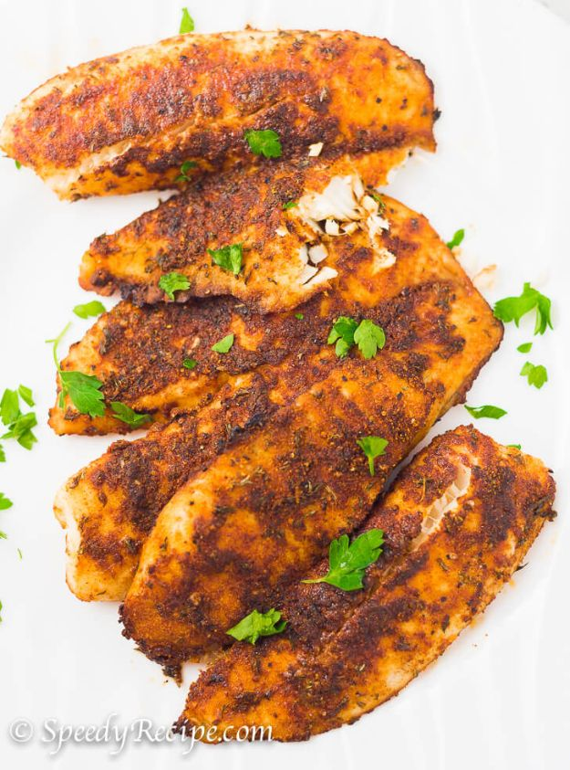 Tilapia Recipes - Oven Baked Blackened Tilapia - Best Recipe Ideas for Tilapia Fish - Dinner, Lunch, Snacks and Appetizers - Healthy Foods, Gluten Free Low Carb and Keto Friendly Dishes - Salads, Pastas and Easy Weeknight Dinners, Lunches for Work - Broiled, Grilled, Lemon Baked, Fried and Quick Ways to Make Tilapia http://diyjoy.com/tilapia-recipes