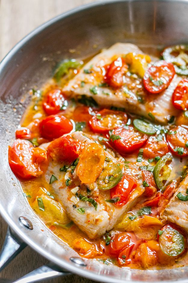 Tilapia Recipes - Pan-Seared Tilapia in Tomato Basil Sauce - Best Recipe Ideas for Tilapia Fish - Dinner, Lunch, Snacks and Appetizers - Healthy Foods, Gluten Free Low Carb and Keto Friendly Dishes - Salads, Pastas and Easy Weeknight Dinners, Lunches for Work - Broiled, Grilled, Lemon Baked, Fried and Quick Ways to Make Tilapia http://diyjoy.com/tilapia-recipes