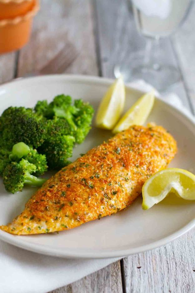 Tilapia Recipes - Parmesan Crusted Tilapia - Best Recipe Ideas for Tilapia Fish - Dinner, Lunch, Snacks and Appetizers - Healthy Foods, Gluten Free Low Carb and Keto Friendly Dishes - Salads, Pastas and Easy Weeknight Dinners, Lunches for Work - Broiled, Grilled, Lemon Baked, Fried and Quick Ways to Make Tilapia http://diyjoy.com/tilapia-recipes