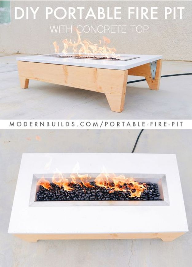 DIY Firepits - Portable Fire Pit - Step by Step Tutorial for Raised Firepit , In Ground, Portable, Brick, Stone, Metal and Cinder Block Outdoor Fireplace - Add Seating to Your Patio and yard With An Inexpensive Firepit http://diyjoy.com/diy-firepits