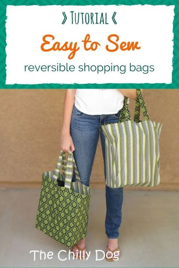DIY Shopping Bags - Reversible Shopping Bags - Easy Drawstring Bag Tutorials - How To Make A Shopping Bag - Use Fabric Scraps, Old Denim Jeans, Upcycled Items - Cute Monogrammed Ideas, Painted Bags and Sewing Tutorials for Beginners http://diyjoy.com/diy-drawstring-bags