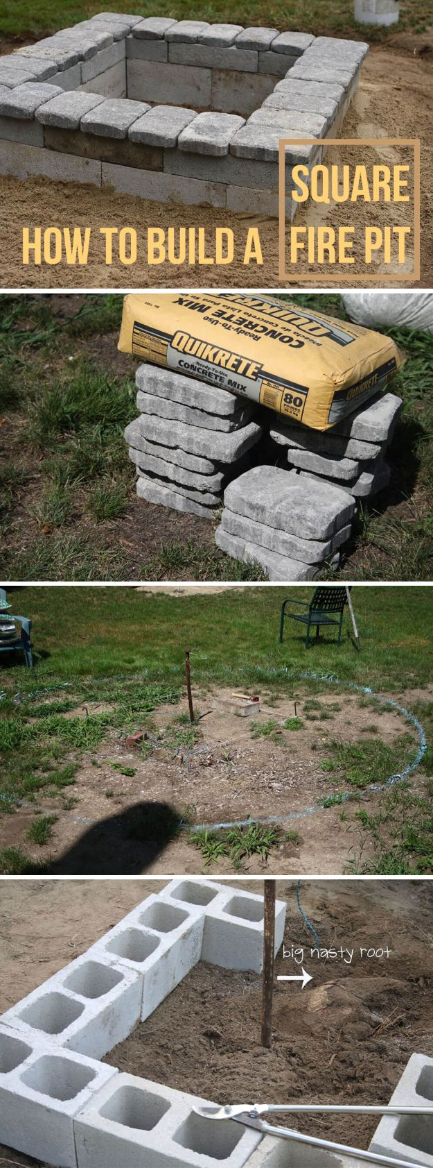 DIY Firepits - Square Concrete and Stone Firepit - Step by Step Tutorial for Raised Firepit , In Ground, Portable, Brick, Stone, Metal and Cinder Block Outdoor Fireplace - Add Seating to Your Patio and yard With An Inexpensive Firepit http://diyjoy.com/diy-firepits