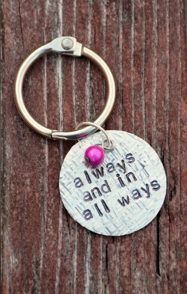 DIY Anniversary Gifts - Stamped Textured Keychain - Homemade, Handmade Gift Ideas for Wedding Anniversaries - Cool, Easy and Inexpensvie Gifts To Make for Husband or Wife http://diyjoy.com/diy-anniversary-gifts