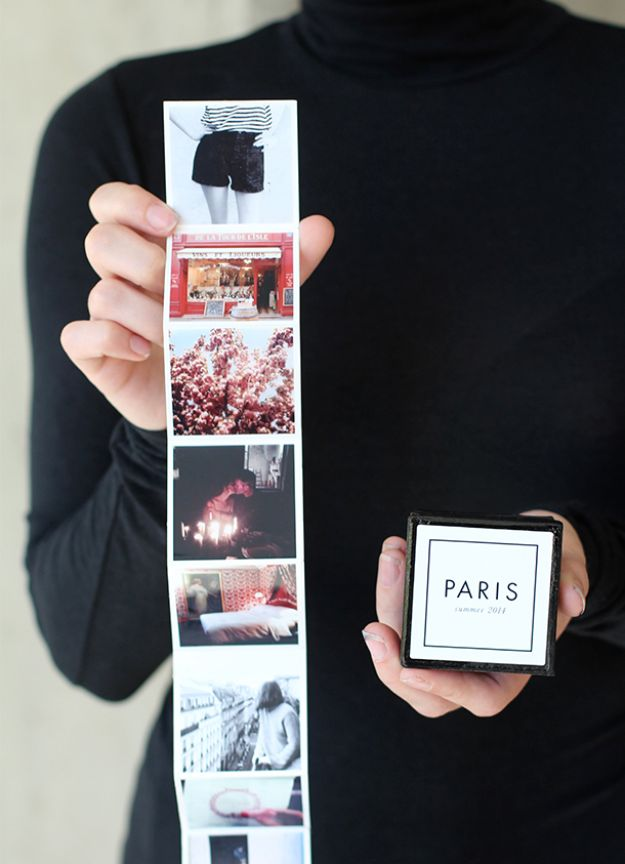 DIY Anniversary Gifts - Tiny Travel Album In A Box - Homemade, Handmade Gift Ideas for Wedding Anniversaries - Cool, Easy and Inexpensvie Gifts To Make for Husband or Wife http://diyjoy.com/diy-anniversary-gifts