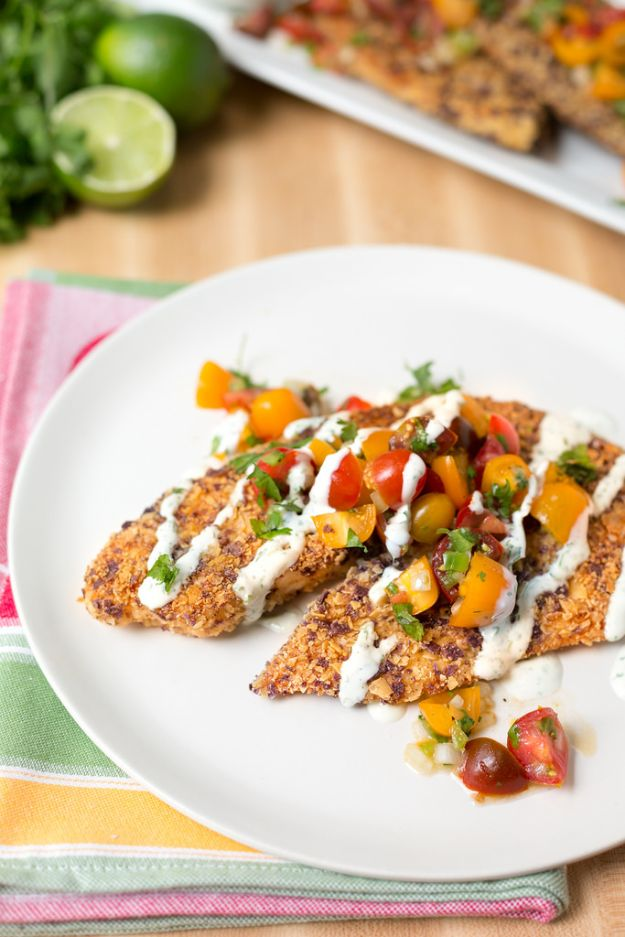 Tilapia Recipes - Tortilla Crusted Tilapia - Best Recipe Ideas for Tilapia Fish - Dinner, Lunch, Snacks and Appetizers - Healthy Foods, Gluten Free Low Carb and Keto Friendly Dishes - Salads, Pastas and Easy Weeknight Dinners, Lunches for Work - Broiled, Grilled, Lemon Baked, Fried and Quick Ways to Make Tilapia http://diyjoy.com/tilapia-recipes