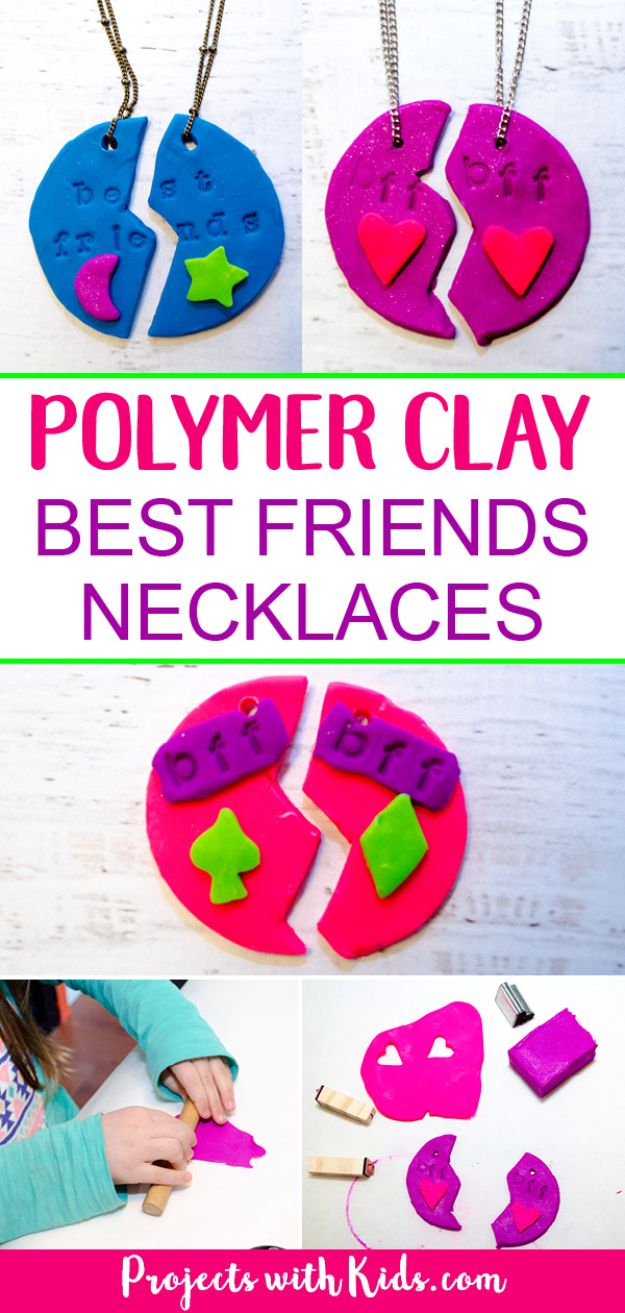 Easy Crafts for Kids - Adorable Polymer Clay Best Friends Necklaces - Quick DIY Ideas for Children - Boys and Girls Love These Cool Craft Projects - Indoor and Outdoor Fun at Home - Cheap Playtime Activities https://diyjoy.com/best-easy-crafts-for-kids