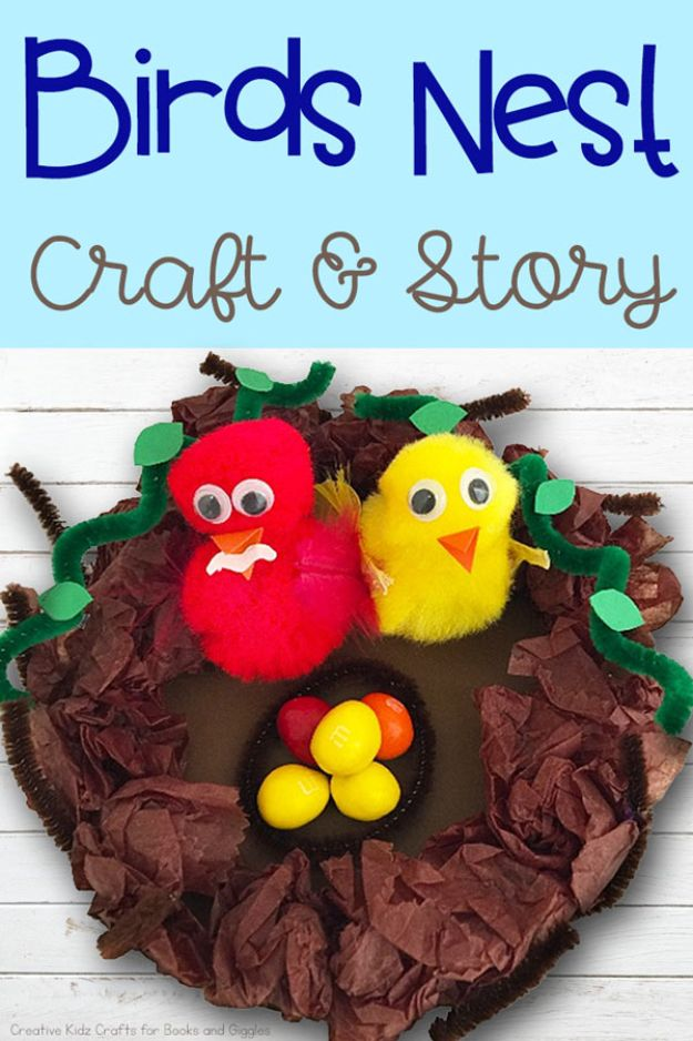 Easy Crafts for Kids - Birds Nest Craft - Quick DIY Ideas for Children - Boys and Girls Love These Cool Craft Projects - Indoor and Outdoor Fun at Home - Cheap Playtime Activities https://diyjoy.com/best-easy-crafts-for-kids