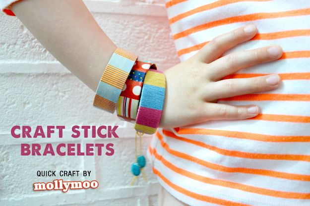 Easy Crafts for Kids - Craft Stick Bracelets - Quick DIY Ideas for Children - Boys and Girls Love These Cool Craft Projects - Indoor and Outdoor Fun at Home - Cheap Playtime Activities https://diyjoy.com/best-easy-crafts-for-kids