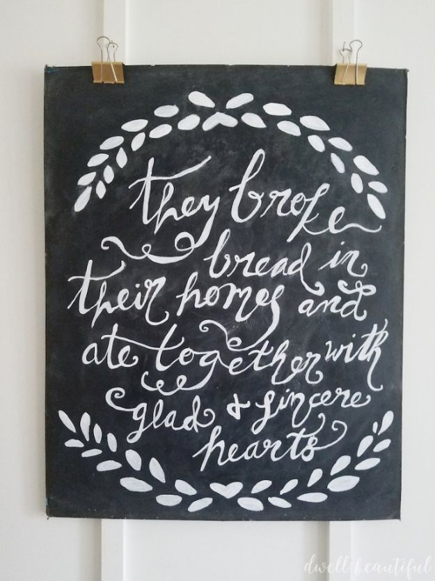Magnolia Homes Decor Ideas - DIY Chalkboard Wall Art - DIY Decor Inspired by Chip and Joanna Gaines - Fixer Upper Dining Room, Coffee Tables, Light Fixtures for Your House - Do It Yourself Decorating On A Budget With Farmhouse Style Decorations for the Home http://diyjoy.com/magnolia-homes-decor-ideas