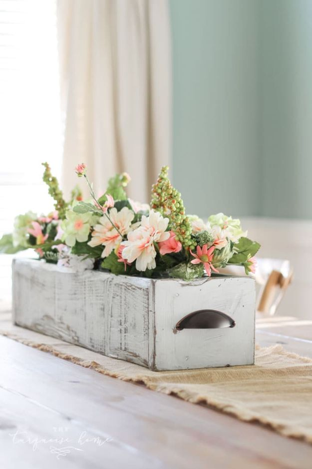 Magnolia Homes Decor Ideas - DIY Farmhouse Wooden Box Centerpiece DIY Decor Inspired by Chip and Joanna Gaines - Fixer Upper Dining Room, Coffee Tables, Light Fixtures for Your House - Do It Yourself Decorating On A Budget With Farmhouse Style Decorations for the Home http://diyjoy.com/magnolia-homes-decor-ideas