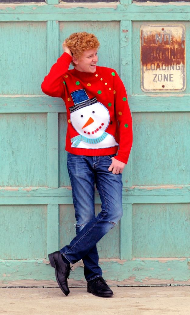 DIY Ugly Christmas Sweaters - DIY Frosty Ugly Christmas Sweater - No Sew and Easy Sewing Projects - Ideas for Him and Her to Wear to Holiday Contest or Office Party Outfit - Funny Couples Sweater, Mens Womens and Kids https://diyjoy.com/diy-ugly-christmas-sweaters