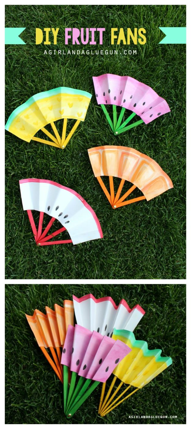 Easy Crafts for Kids - DIY Fruit Fans - Quick DIY Ideas for Children - Boys and Girls Love These Cool Craft Projects - Indoor and Outdoor Fun at Home - Cheap Playtime Activities https://diyjoy.com/best-easy-crafts-for-kids