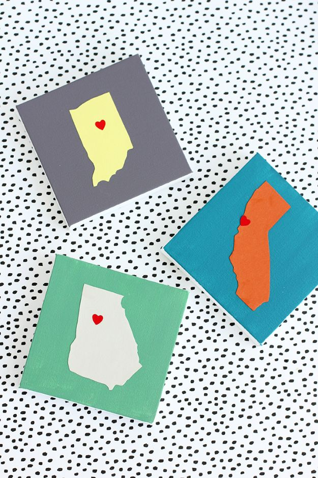 Cool State Crafts - DIY State Art - Easy Craft Projects To Show Your Love For Your Home State - Best DIY Ideas Using Maps, String Art Shaped Like States, Quotes, Sayings and Wall Art Ideas, Painted Canvases, Cute Pillows, Fun Gifts and DIY Decor Made Simple - Creative Decorating Ideas for Living Room, Kitchen, Bedroom, Bath and Porch http://diyjoy.com/cool-state-crafts