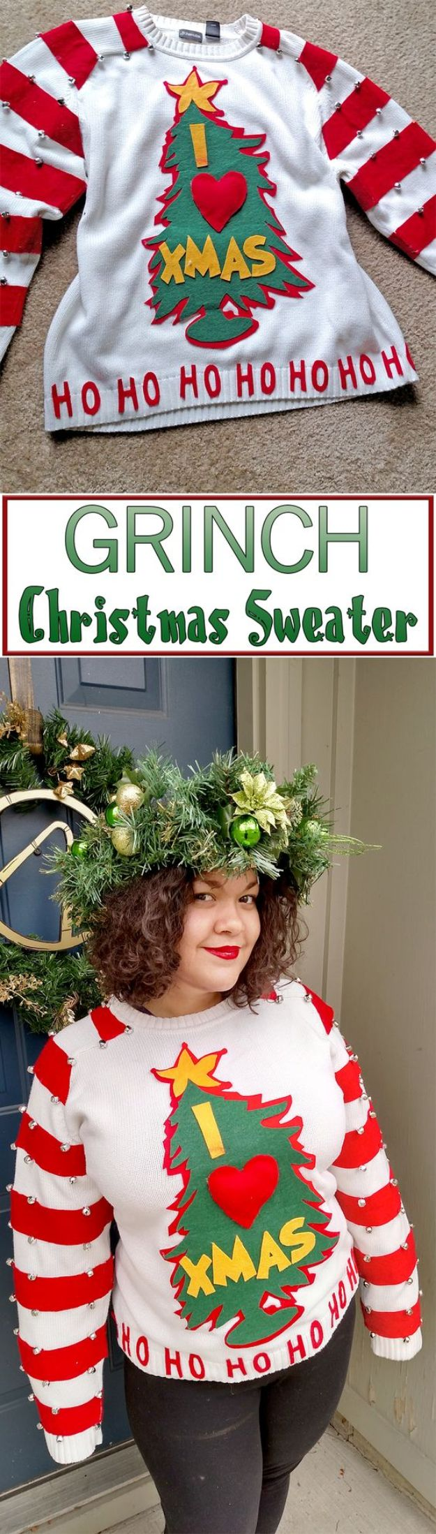DIY Ugly Christmas Sweaters - Easy DIY Grinch Sweater - No Sew and Easy Sewing Projects - Ideas for Him and Her to Wear to Holiday Contest or Office Party Outfit - Funny Couples Sweater, Mens Womens and Kids https://diyjoy.com/diy-ugly-christmas-sweaters