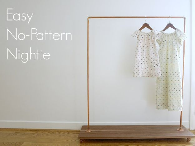 DIY Nightgowns and Sleepwear - Easy No-Pattern Nightie - Easy Sewing Projects for Cute Nightshirts, Tshirts, Gowns and Pajamas - Free Patterns and Step by Step Tutorials https://diyjoy.com/diy-nightgowns-sleepwear