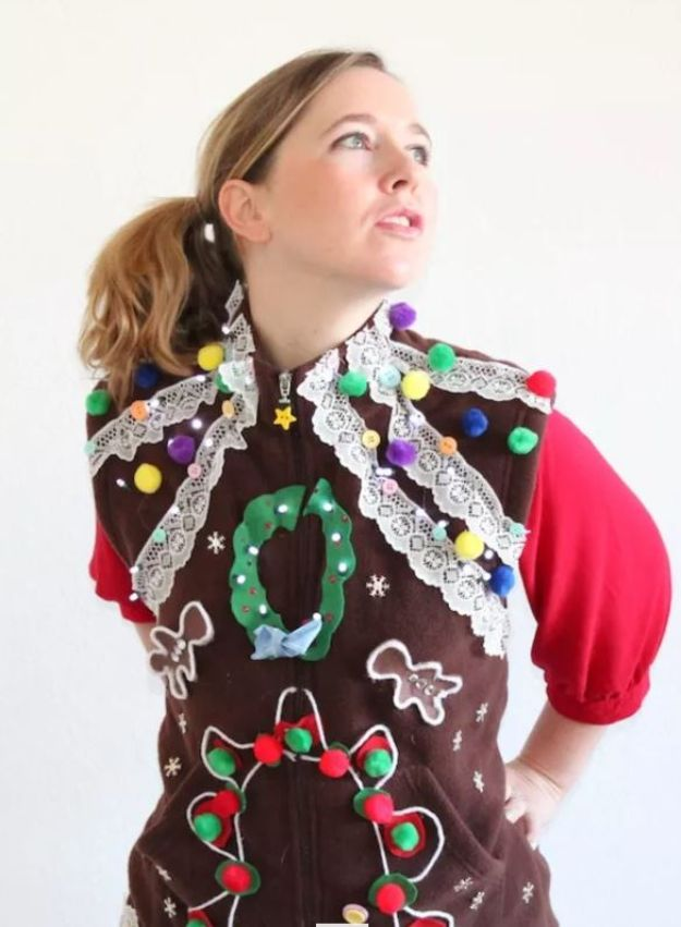 DIY Ugly Christmas Sweaters - Fleece Vest Ugly Christmas Sweater - No Sew and Easy Sewing Projects - Ideas for Him and Her to Wear to Holiday Contest or Office Party Outfit - Funny Couples Sweater, Mens Womens and Kids https://diyjoy.com/diy-ugly-christmas-sweaters