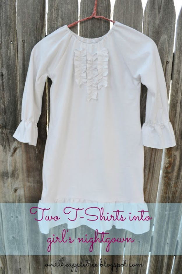DIY Nightgowns and Sleepwear - Girl's Nightgown Made From Men's T-Shirts - Easy Sewing Projects for Cute Nightshirts, Tshirts, Gowns and Pajamas - Free Patterns and Step by Step Tutorials https://diyjoy.com/diy-nightgowns-sleepwear