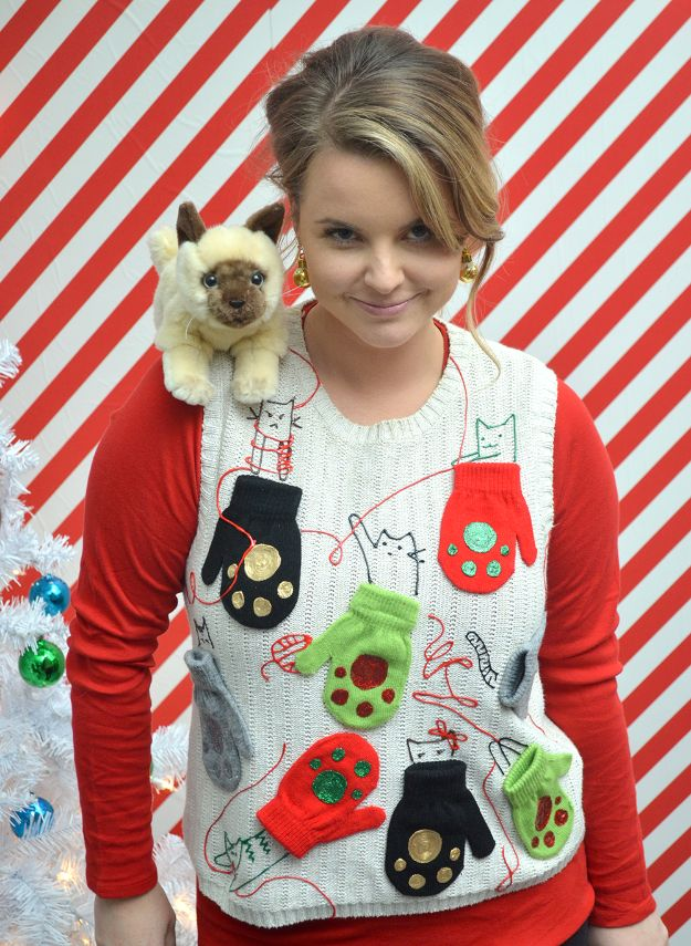 DIY Ugly Christmas Sweaters - Kitten Mittens Ugly Sweater DIY - No Sew and Easy Sewing Projects - Ideas for Him and Her to Wear to Holiday Contest or Office Party Outfit - Funny Couples Sweater, Mens Womens and Kids https://diyjoy.com/diy-ugly-christmas-sweaters