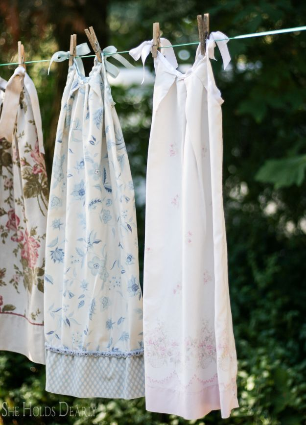DIY Nightgowns and Sleepwear - Pillowcase Nightie - Easy Sewing Projects for Cute Nightshirts, Tshirts, Gowns and Pajamas - Free Patterns and Step by Step Tutorials https://diyjoy.com/diy-nightgowns-sleepwear