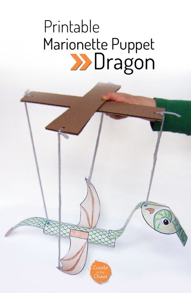 Easy Crafts for Kids - Printable Dragon Marionette - Quick DIY Ideas for Children - Boys and Girls Love These Cool Craft Projects - Indoor and Outdoor Fun at Home - Cheap Playtime Activities https://diyjoy.com/best-easy-crafts-for-kids