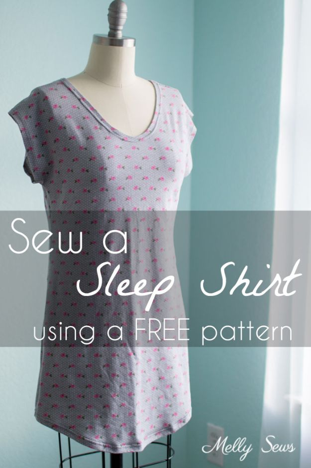 DIY Nightgowns and Sleepwear - Sew A Sleep Shirt - Easy Sewing Projects for Cute Nightshirts, Tshirts, Gowns and Pajamas - Free Patterns and Step by Step Tutorials https://diyjoy.com/diy-nightgowns-sleepwear