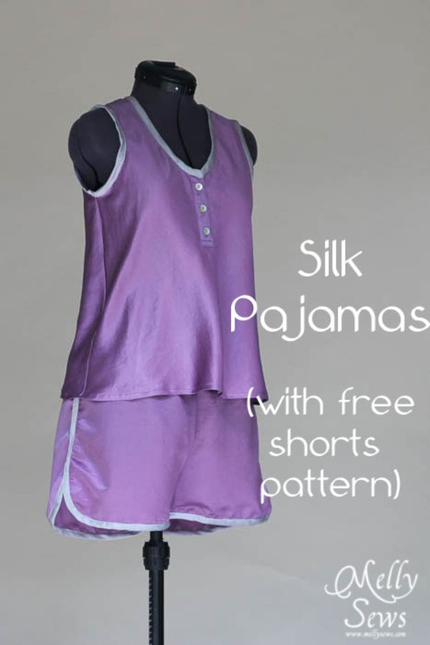 DIY Nightgowns and Sleepwear - Silk Pajamas - Easy Sewing Projects for Cute Nightshirts, Tshirts, Gowns and Pajamas - Free Patterns and Step by Step Tutorials https://diyjoy.com/diy-nightgowns-sleepwear